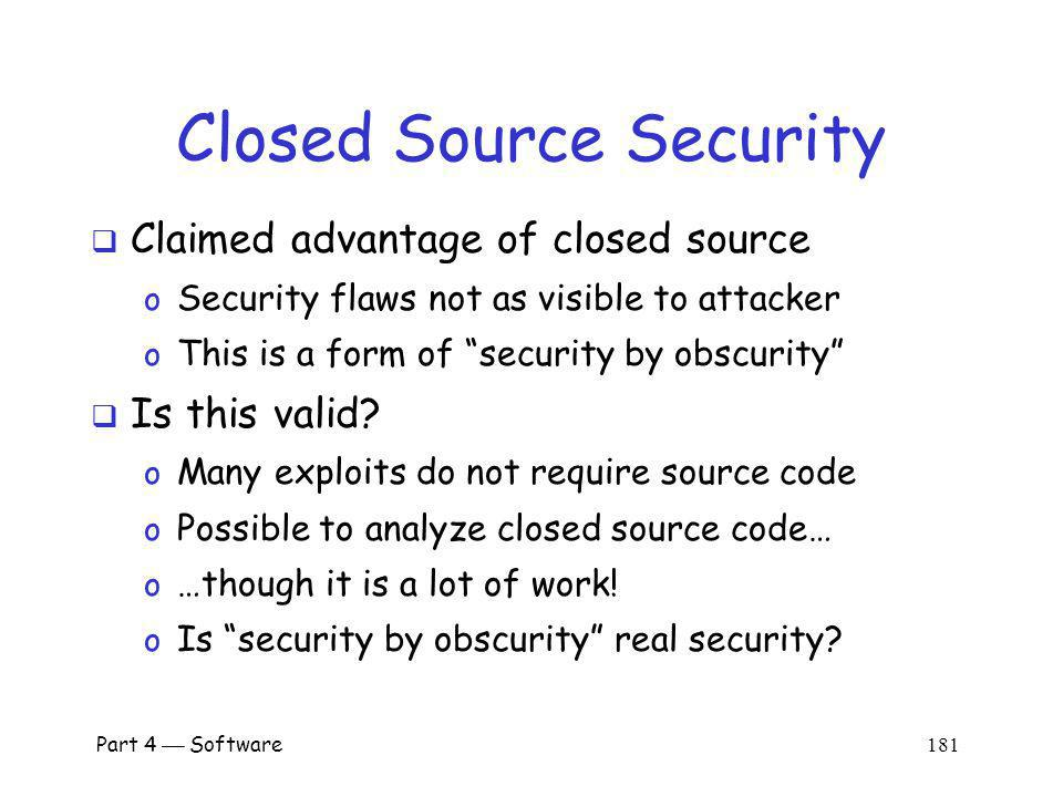 Closed Source Security