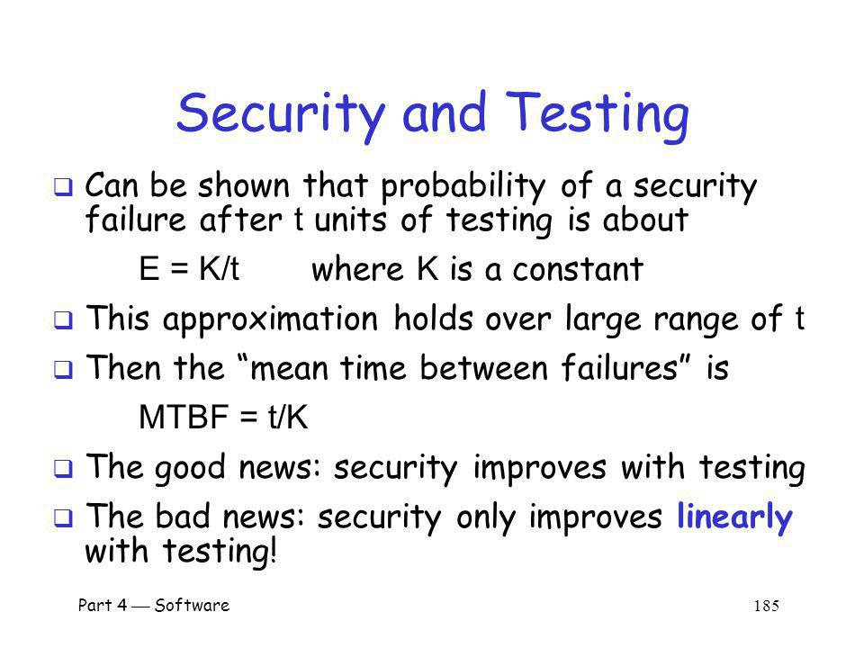Security and Testing Can be shown that probability of a security failure after t units of testing is about.