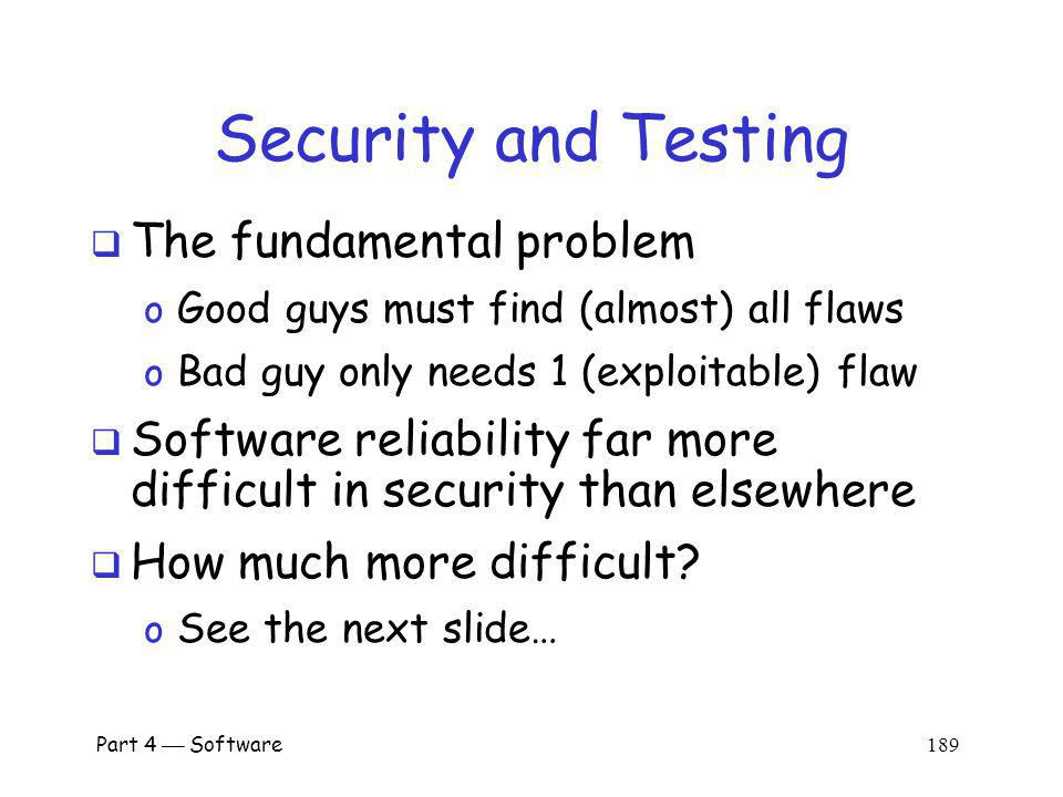 Security and Testing The fundamental problem