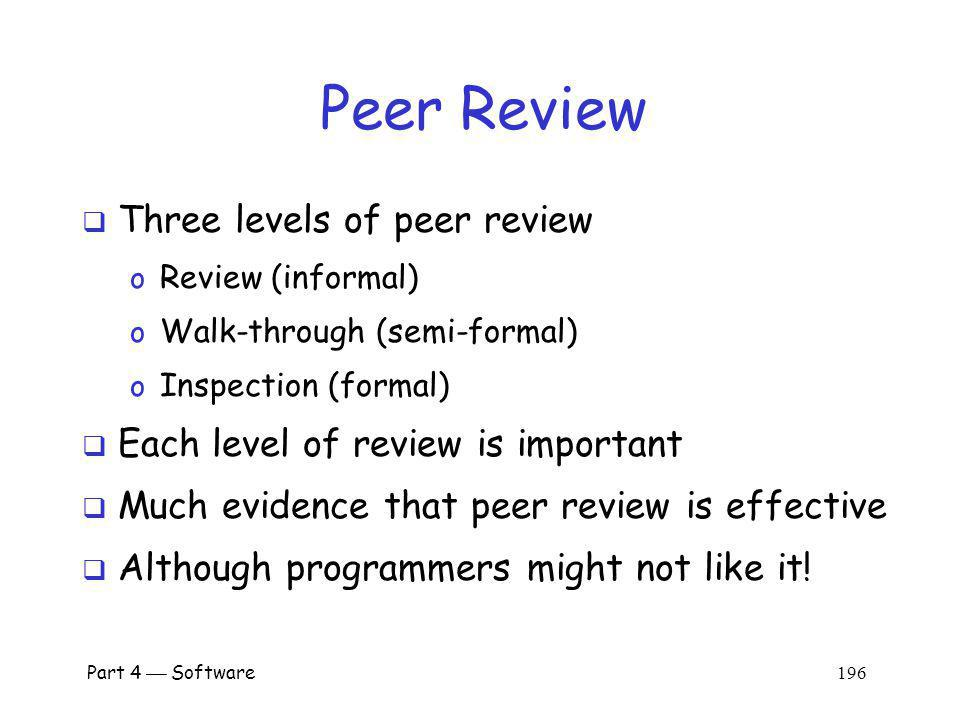 Peer Review Three levels of peer review