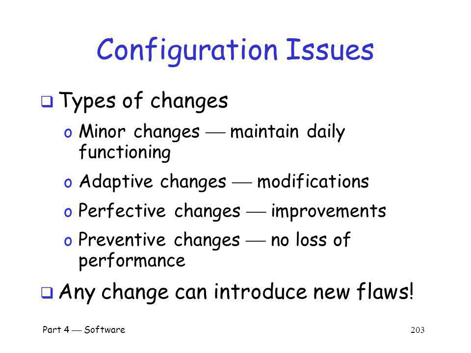 Configuration Issues Types of changes
