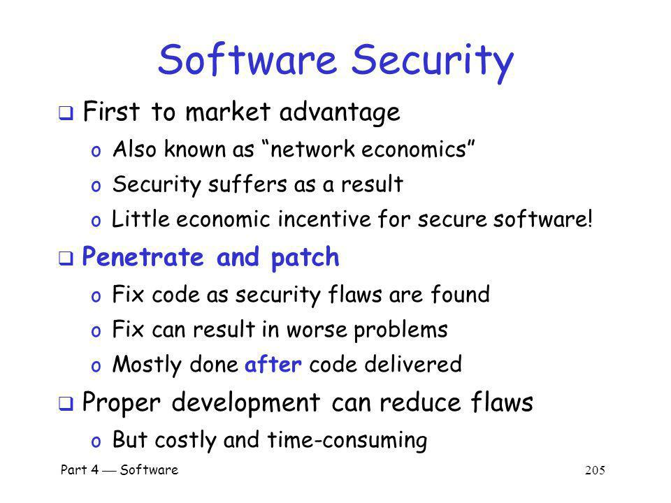 Software Security First to market advantage Penetrate and patch