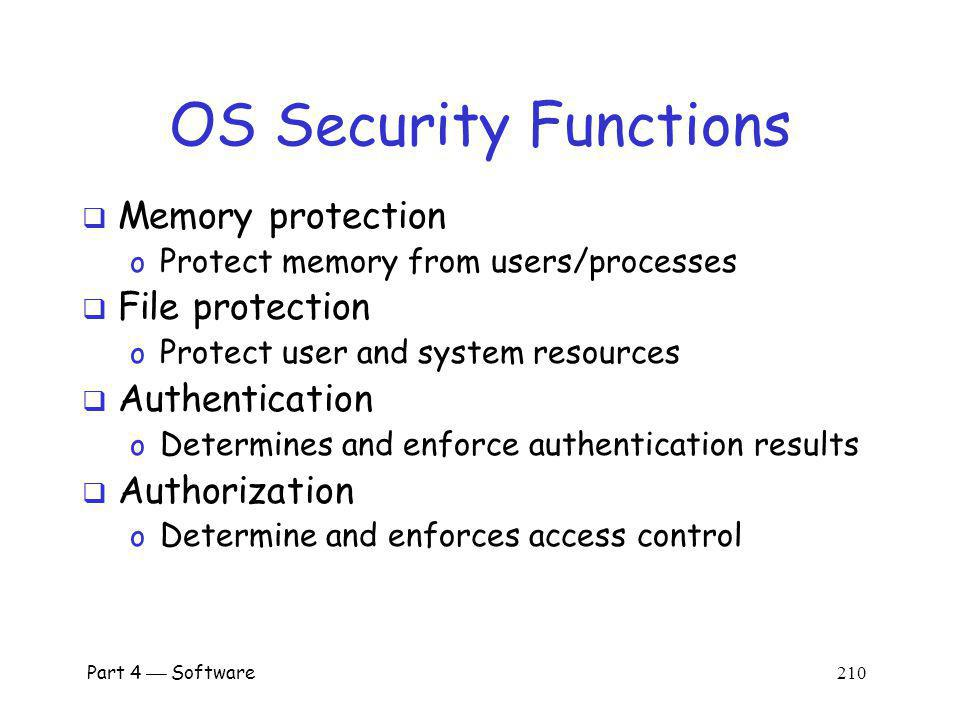 OS Security Functions Memory protection File protection Authentication