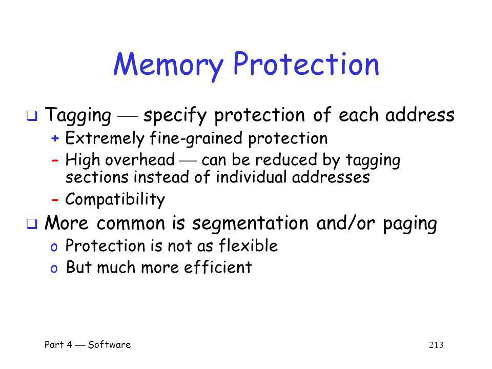 Memory Protection Tagging  specify protection of each address
