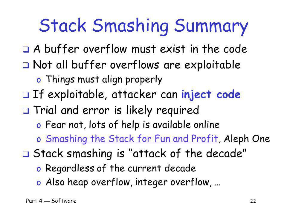 Stack Smashing Summary