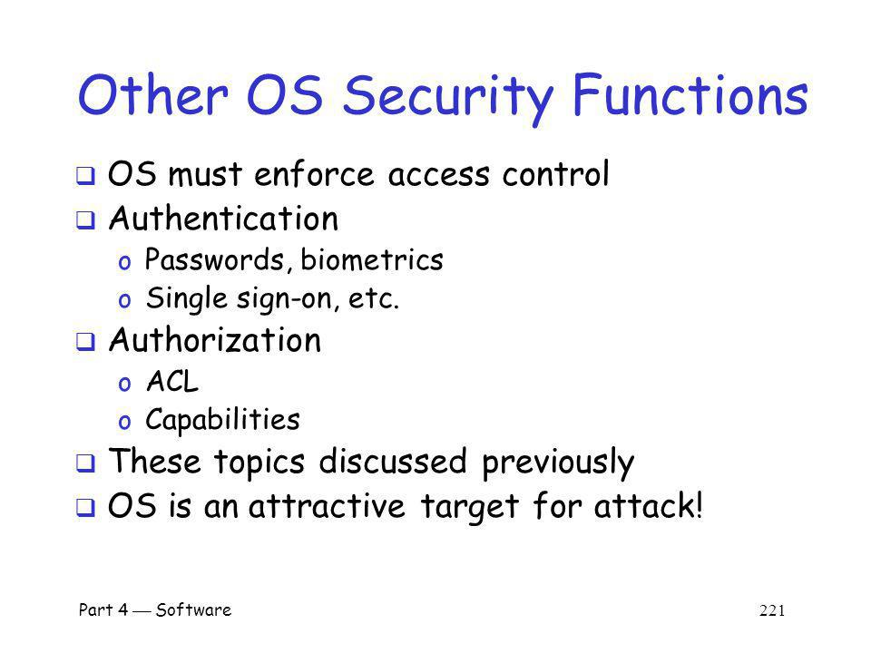 Other OS Security Functions