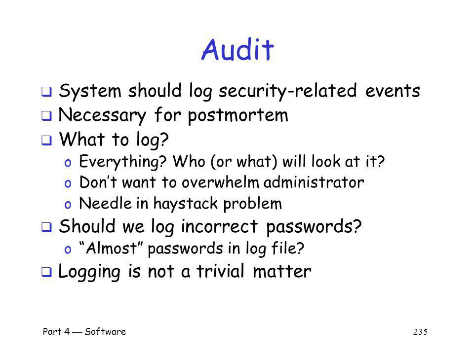 Audit System should log security-related events