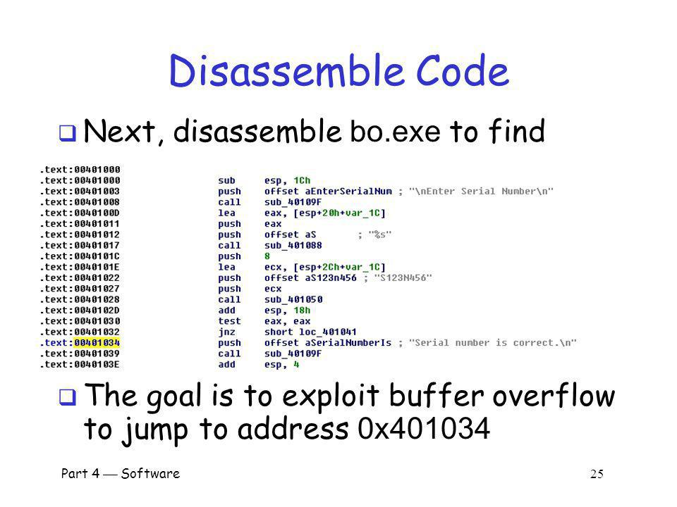 Disassemble Code Next, disassemble bo.exe to find