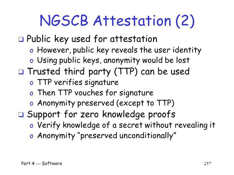 NGSCB Attestation (2) Public key used for attestation