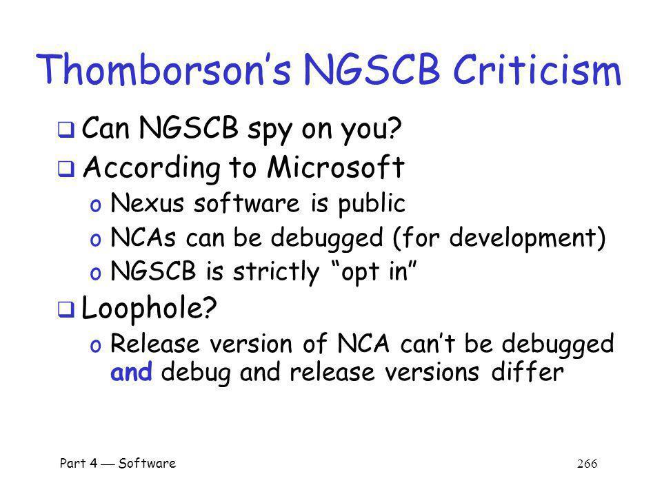 Thomborson's NGSCB Criticism