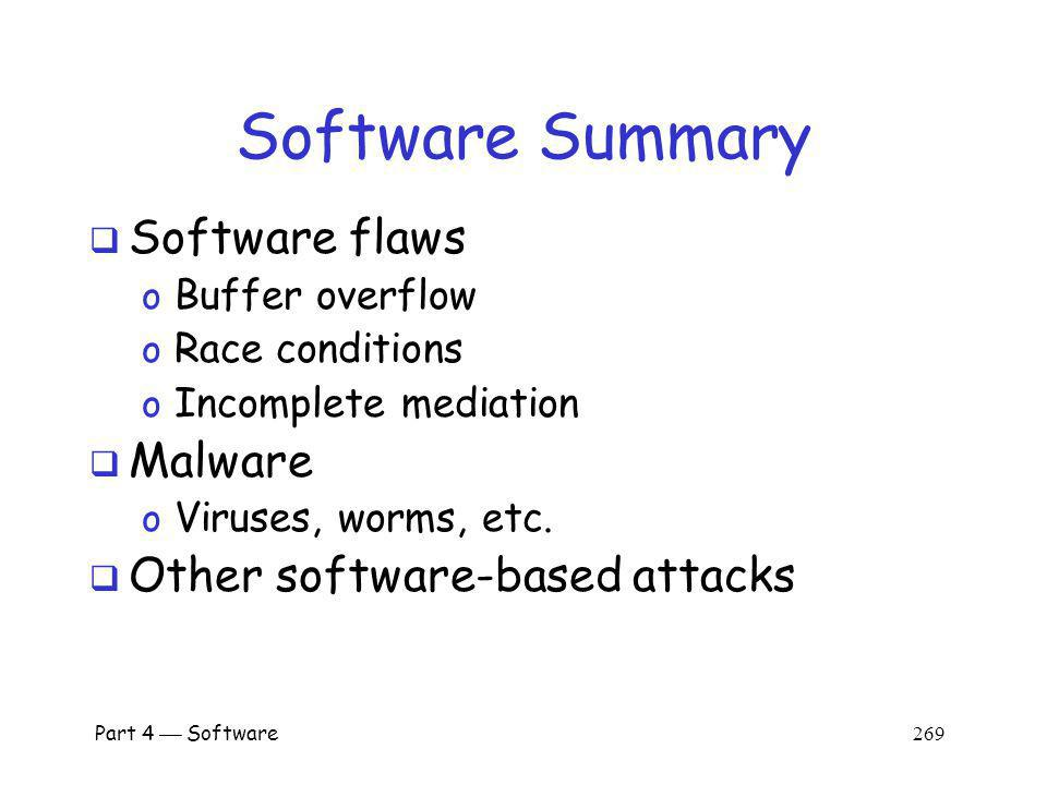 Software Summary Software flaws Malware Other software-based attacks