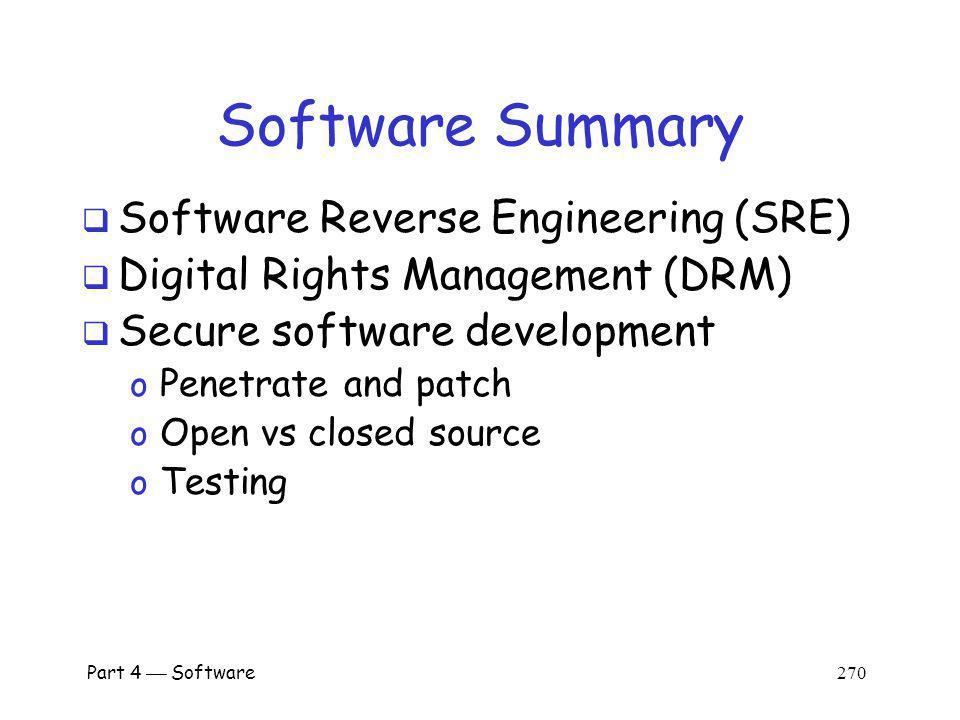 Software Summary Software Reverse Engineering (SRE)