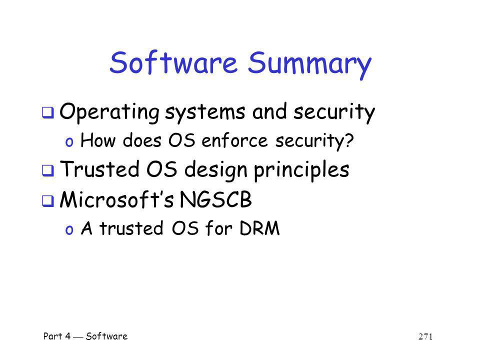 Software Summary Operating systems and security