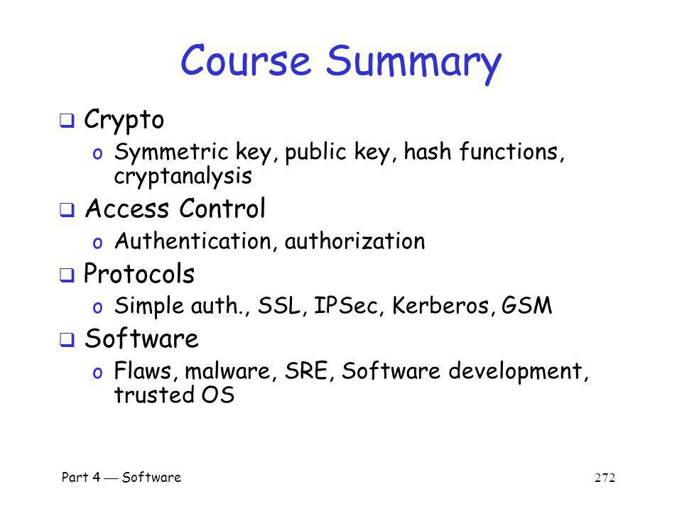 Course Summary Crypto Access Control Protocols Software