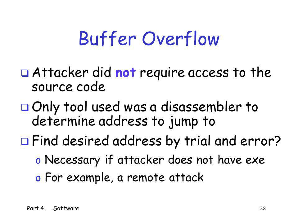 Buffer Overflow Attacker did not require access to the source code