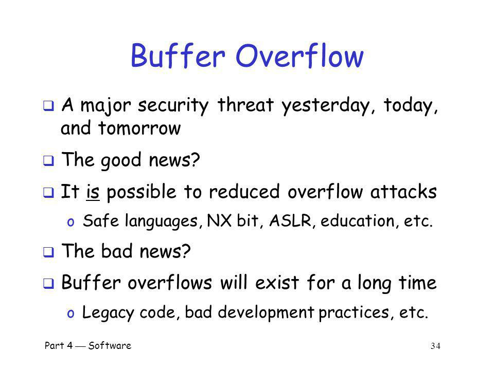 Buffer Overflow A major security threat yesterday, today, and tomorrow