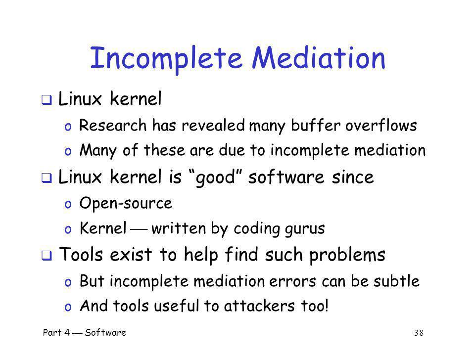 Incomplete Mediation Linux kernel