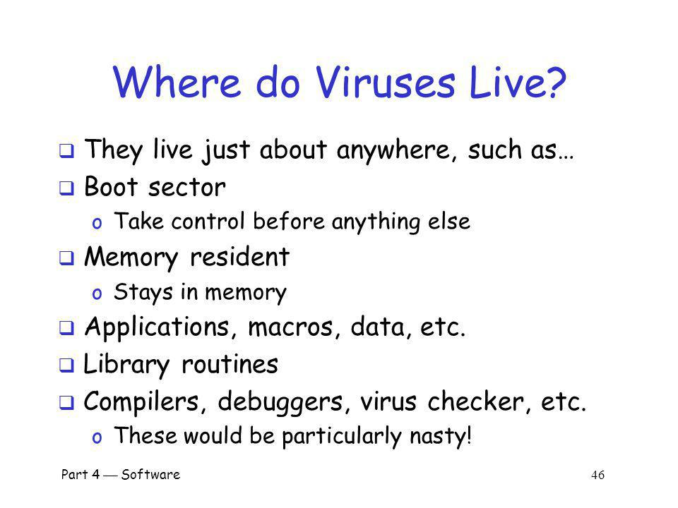 Where do Viruses Live They live just about anywhere, such as…