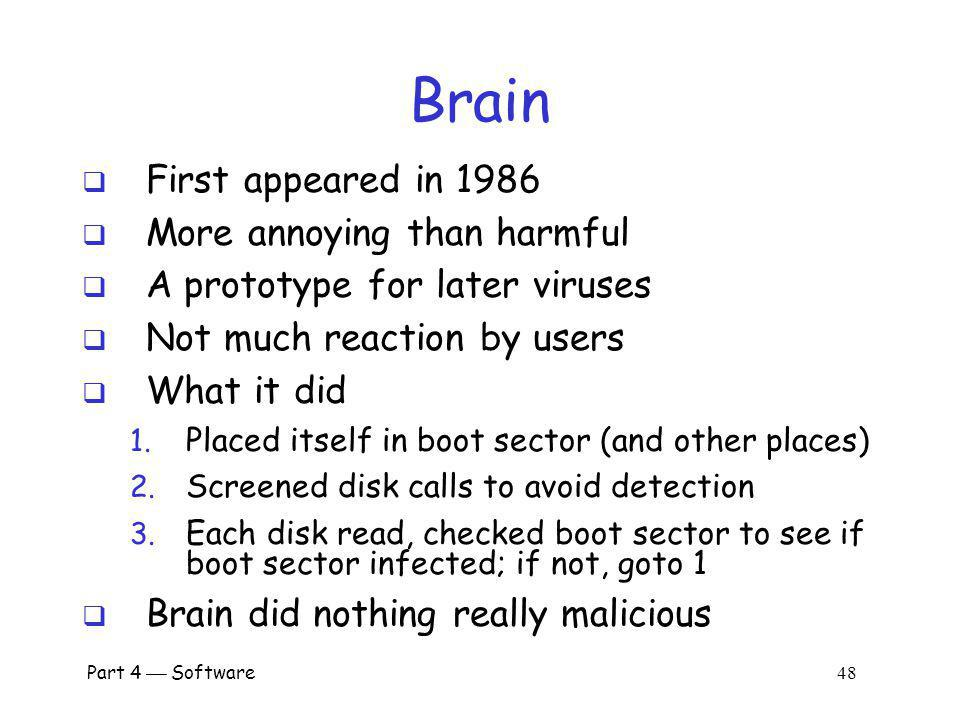 Brain First appeared in 1986 More annoying than harmful