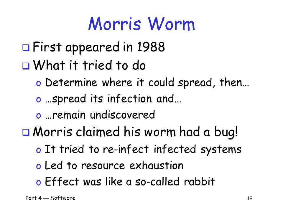 Morris Worm First appeared in 1988 What it tried to do