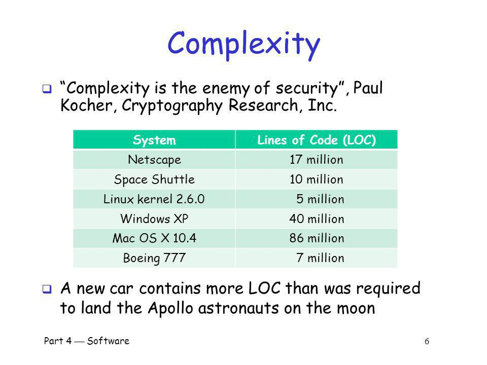 Complexity Complexity is the enemy of security , Paul Kocher, Cryptography Research, Inc. System.