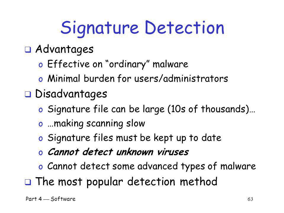 Signature Detection Advantages Disadvantages