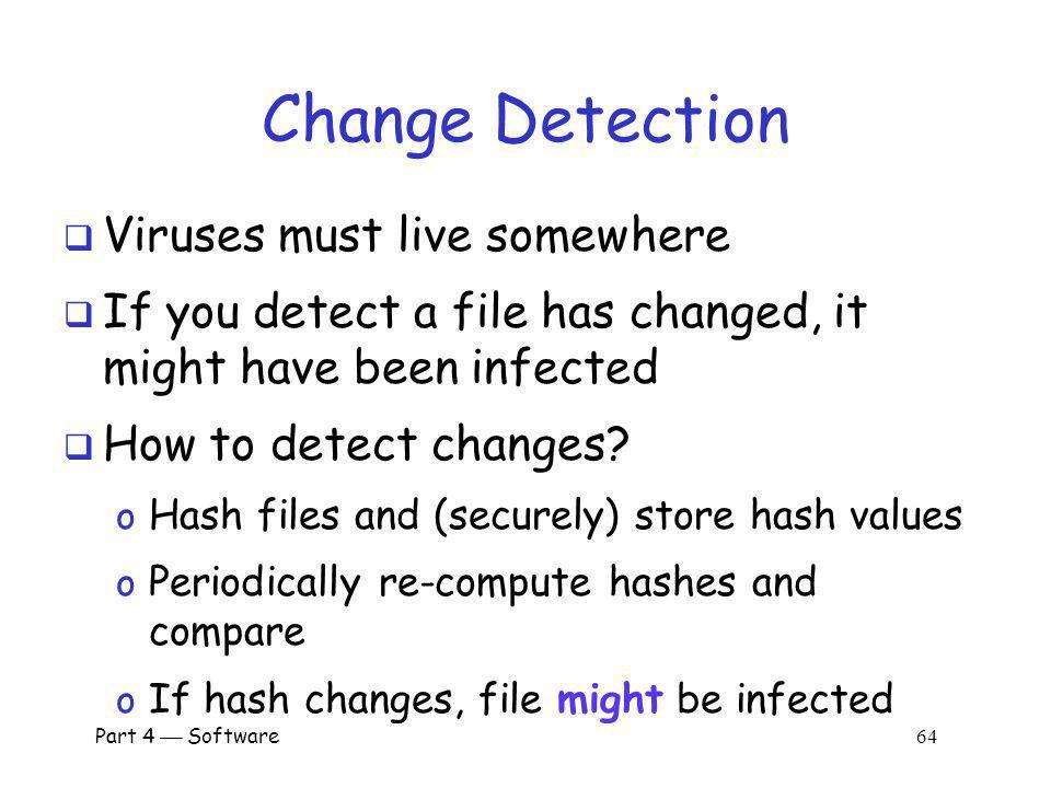 Change Detection Viruses must live somewhere