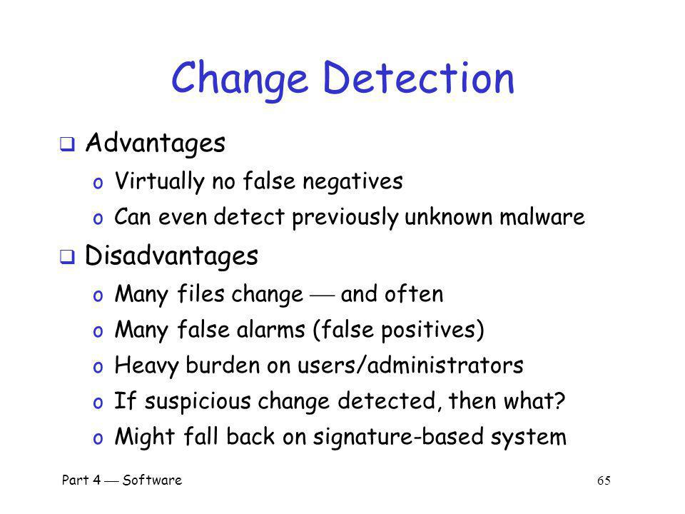 Change Detection Advantages Disadvantages Virtually no false negatives