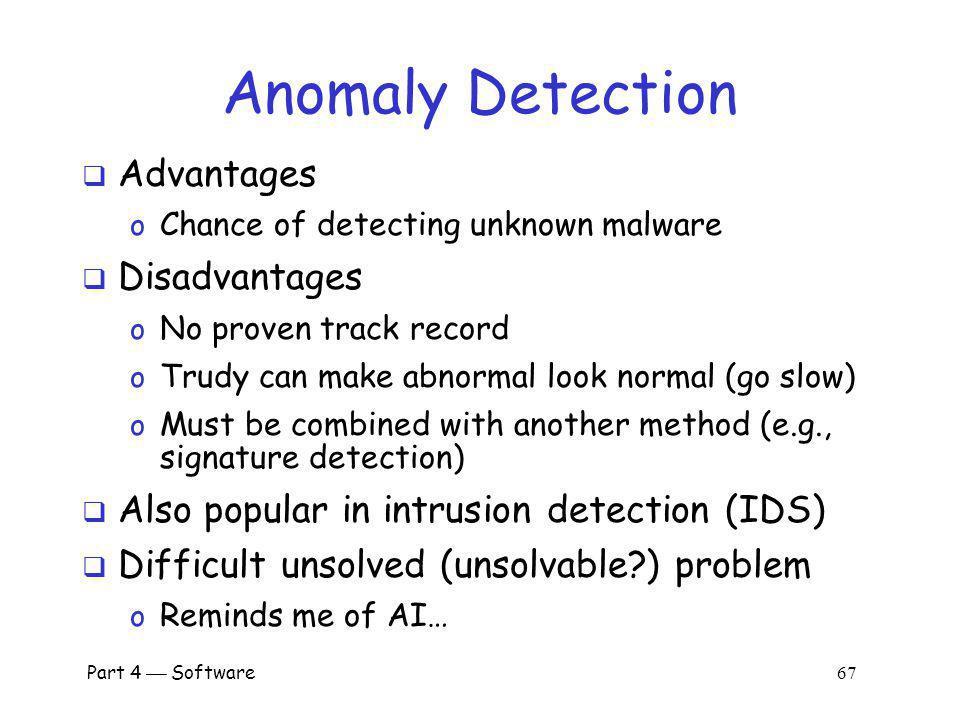 Anomaly Detection Advantages Disadvantages