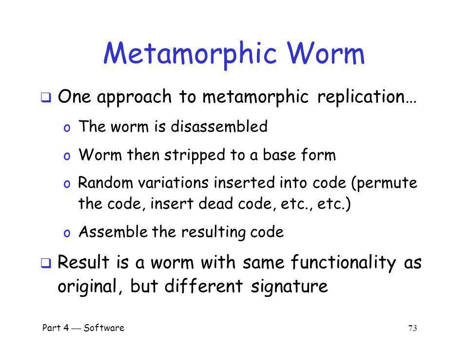 Metamorphic Worm One approach to metamorphic replication…