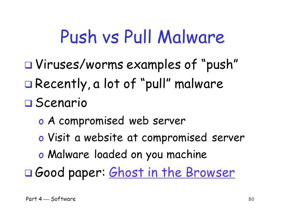 Push vs Pull Malware Viruses/worms examples of push