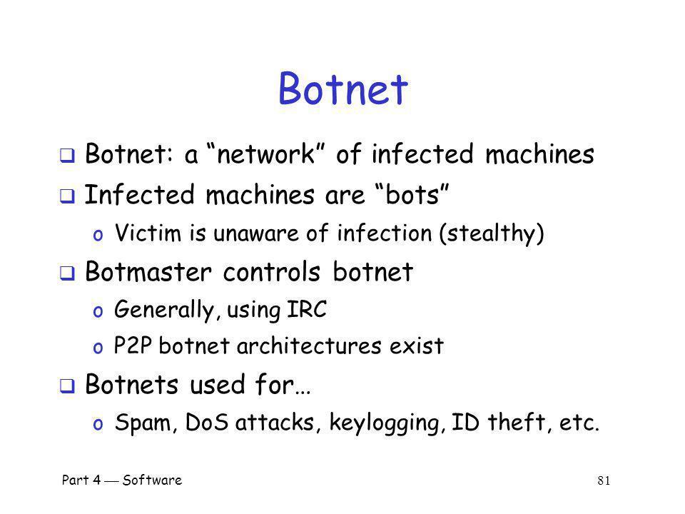 Botnet Botnet: a network of infected machines