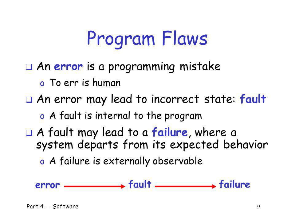 Program Flaws An error is a programming mistake