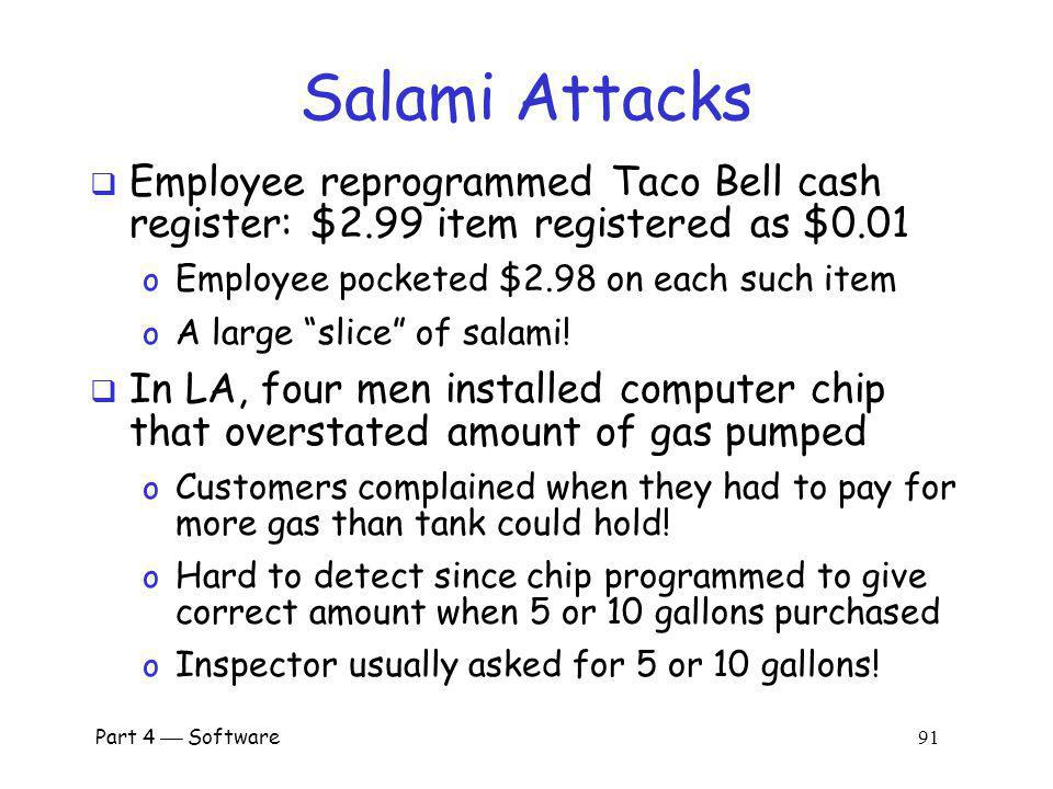 Salami Attacks Employee reprogrammed Taco Bell cash register: $2.99 item registered as $0.01. Employee pocketed $2.98 on each such item.