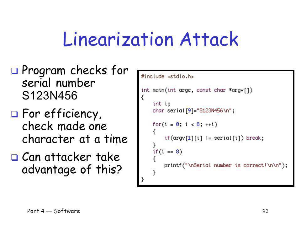 Linearization Attack Program checks for serial number S123N456