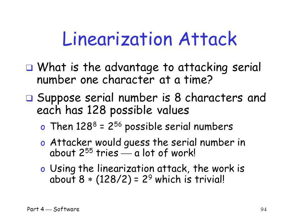 Linearization Attack What is the advantage to attacking serial number one character at a time