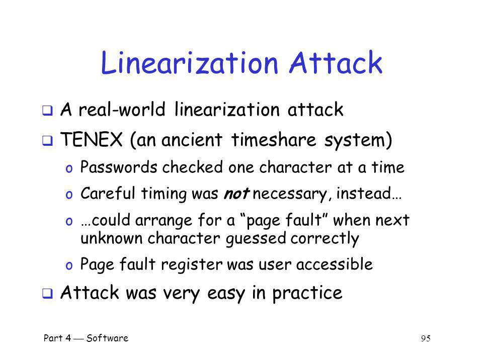 Linearization Attack A real-world linearization attack