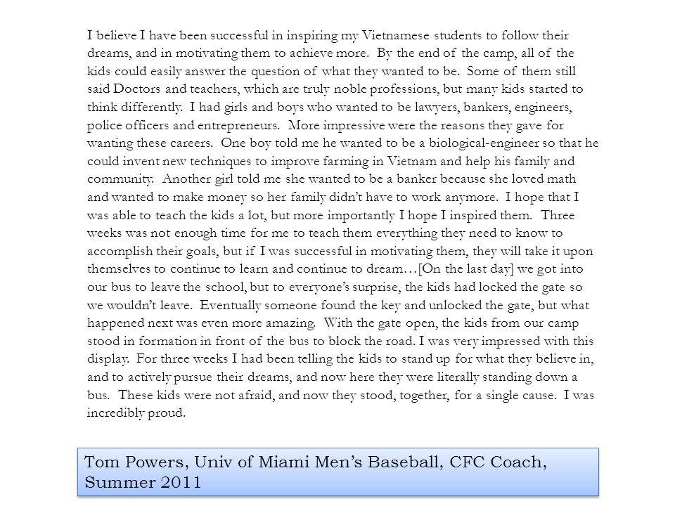 Tom Powers, Univ of Miami Men's Baseball, CFC Coach, Summer 2011
