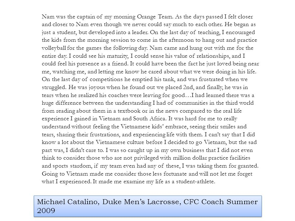 Michael Catalino, Duke Men's Lacrosse, CFC Coach Summer 2009