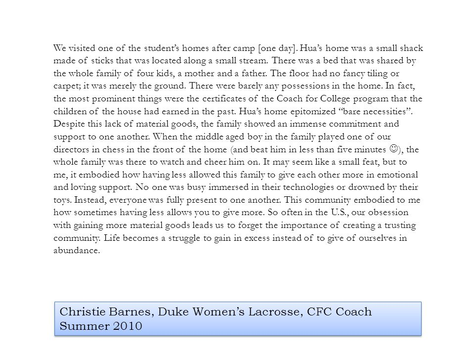 Christie Barnes, Duke Women's Lacrosse, CFC Coach Summer 2010