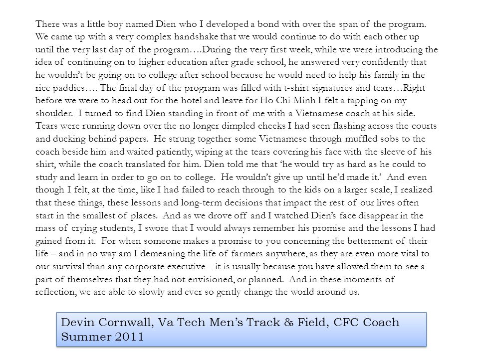 Devin Cornwall, Va Tech Men's Track & Field, CFC Coach Summer 2011