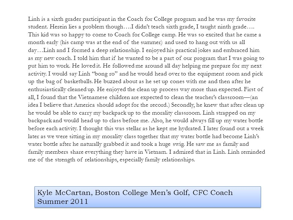Kyle McCartan, Boston College Men's Golf, CFC Coach Summer 2011