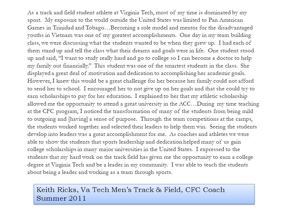 Keith Ricks, Va Tech Men's Track & Field, CFC Coach Summer 2011