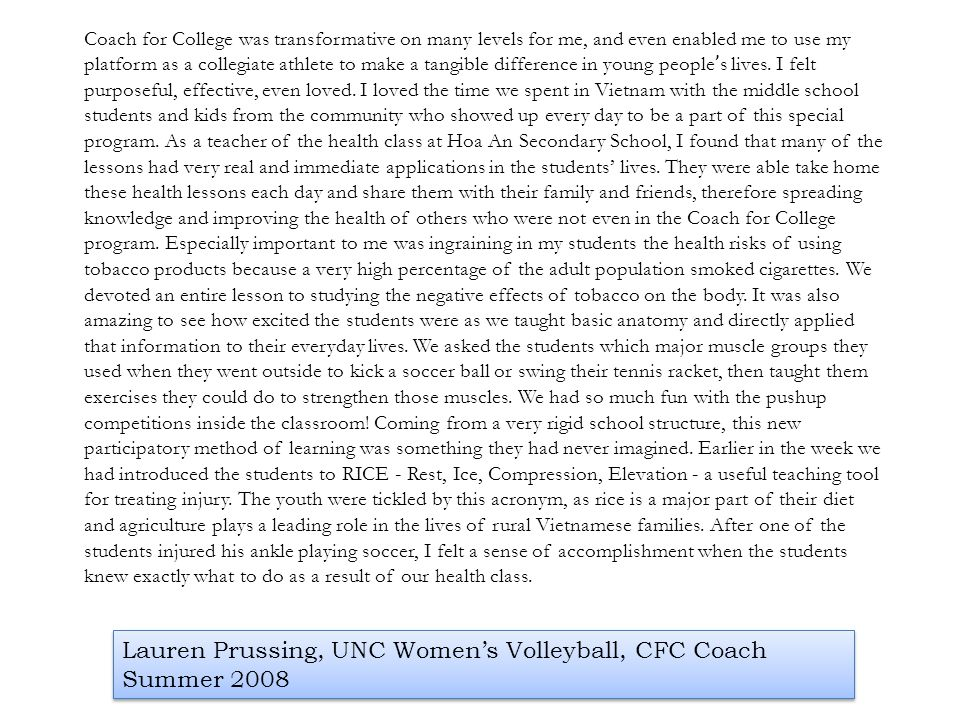 Lauren Prussing, UNC Women's Volleyball, CFC Coach Summer 2008