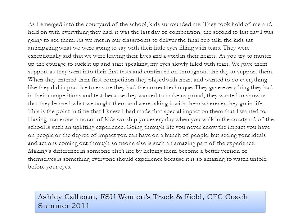 Ashley Calhoun, FSU Women's Track & Field, CFC Coach Summer 2011