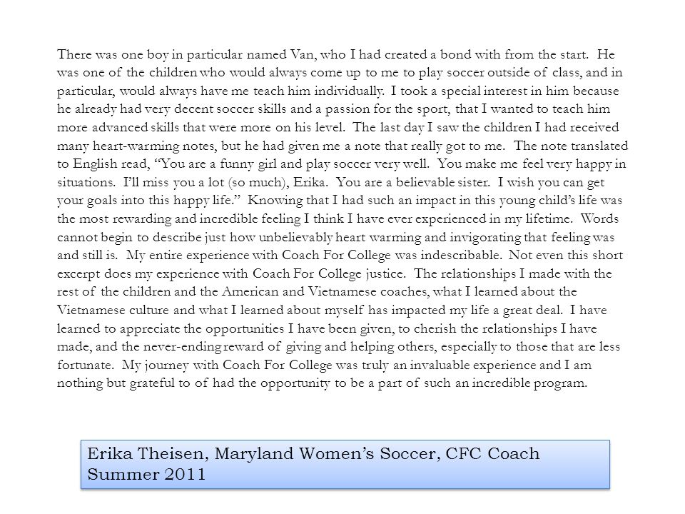 Erika Theisen, Maryland Women's Soccer, CFC Coach Summer 2011