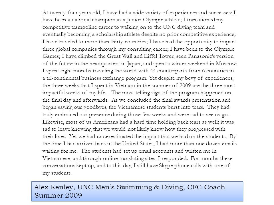 Alex Kenley, UNC Men's Swimming & Diving, CFC Coach Summer 2009