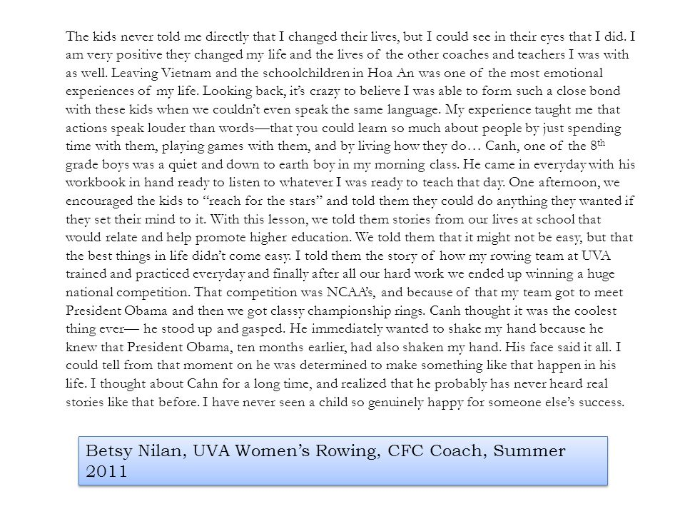 Betsy Nilan, UVA Women's Rowing, CFC Coach, Summer 2011