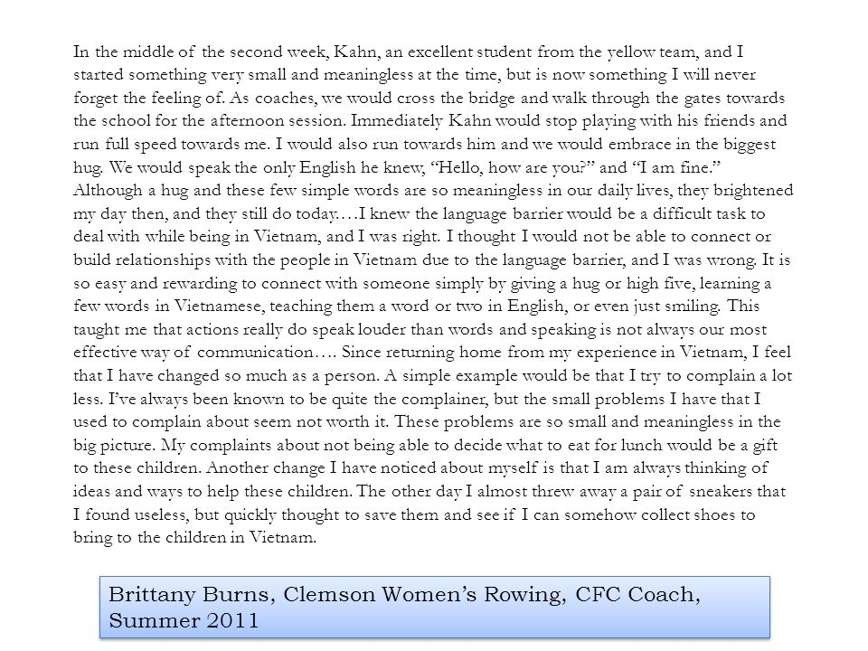 Brittany Burns, Clemson Women's Rowing, CFC Coach, Summer 2011