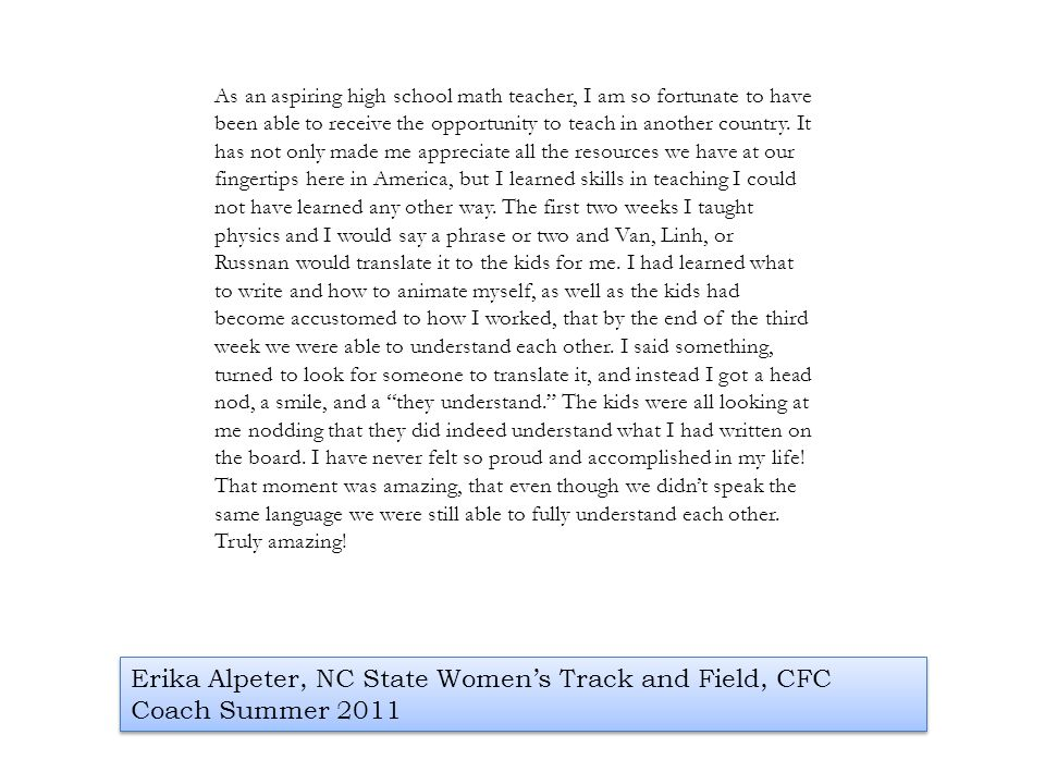 Erika Alpeter, NC State Women's Track and Field, CFC Coach Summer 2011